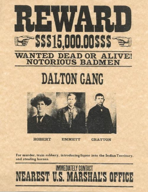Dalton Gang Outlaws Wanted