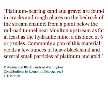 Lewis River gold platinum occurrences in Washington
