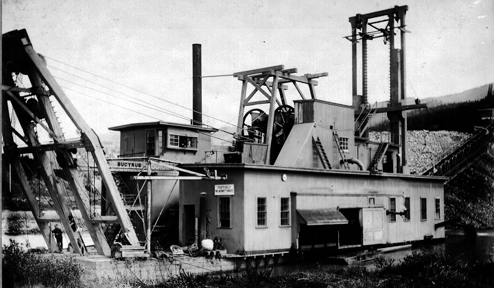 Huge bucket line dredges like this one mined the river gravels all throughout Colorado. The recovered million of ounces in gold, but were very destructive to the environment.