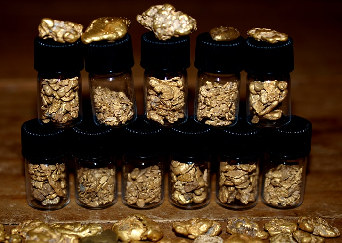 A nice collection of gold nuggets found with metal detectors. Most of the smaller nuggets in the glass vials were found with a Fisher Gold Bug 2. Their accumulated weight is several ounces valued at many thousands of dollars.