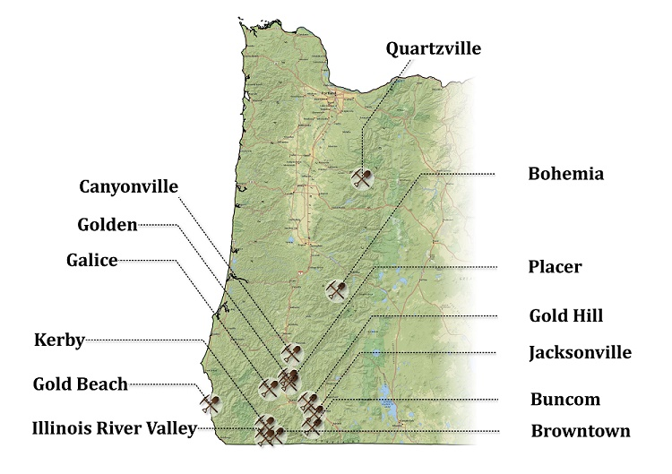 13 Western Oregon Mining Towns - Siskiyou & Cascade Mountain ... on gold mining in oregon, gold in washington state, gold panning locations in oregon, gold in north america map, gold prospecting in oregon, gold in south carolina map, gold in canada map, gold in australia map, gold usa map, gold in north carolina, gold in south dakota map, gold in south africa map, gold in new mexico, gold in mexico map, gold panning rules in oregon, gold finds in oregon, gold lake oregon, gold in bend oregon, gold areas in oregon, gold in rocks in oregon,